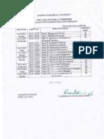 ANU MBA 1st & 3rd Sem Reg Exams Time Table 2015