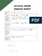 Feedback Sheets