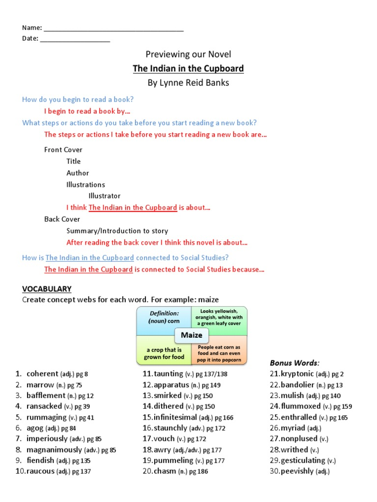 The Indian In M The Cupboard Study Guide Modified 2