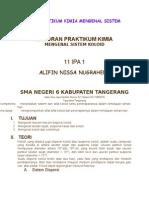 Laporan Praktikum Kimia Mengenal Sistem Koloid
