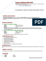 Manzoor Ahmed Qureshi CV Latest