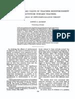 teacher reinforcement and attitude toward teacher- an application of newcombs balance theory