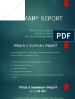 Summary Report Presentation