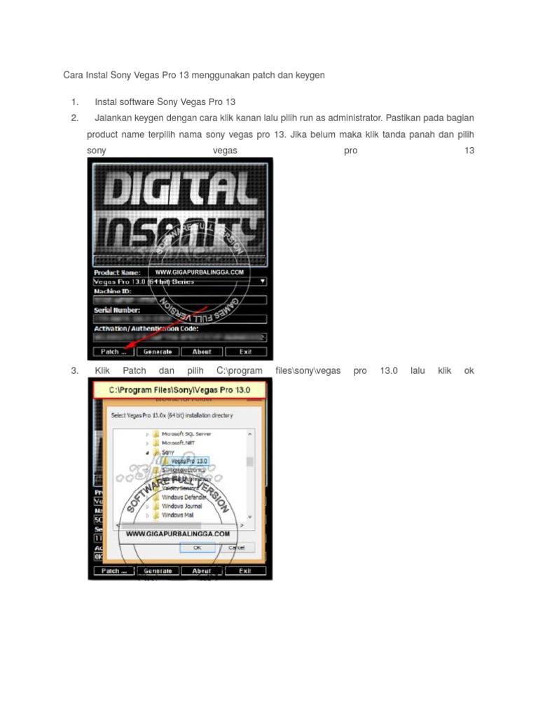 Cara Instal Sony Vegas Pro 13 Menggunakan Patch Dan Keygen