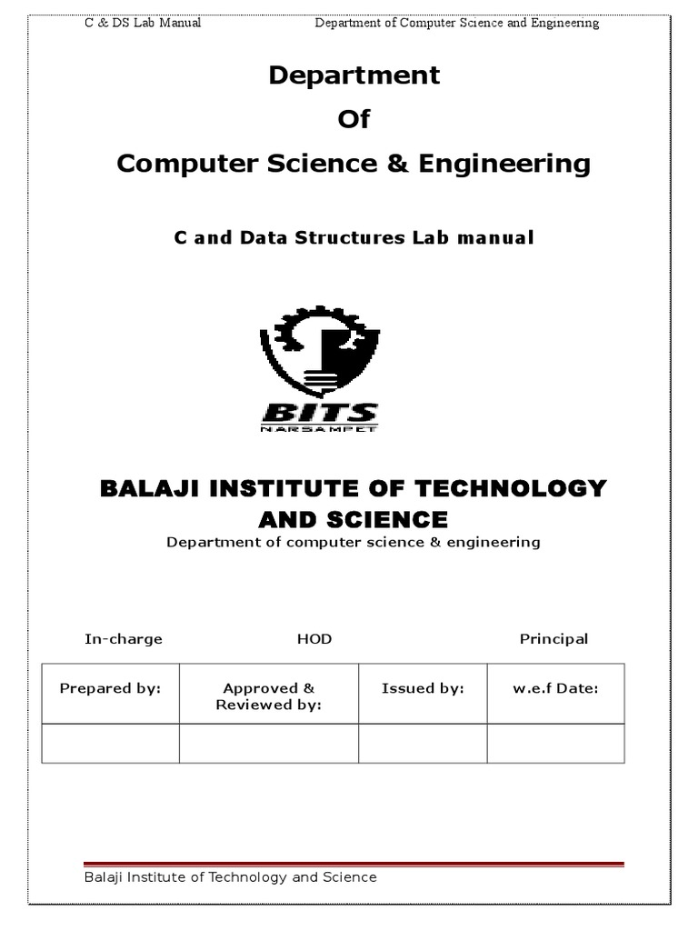 C&DS Lab Manual updated.doc | C (Programming Language) | Pointer (Computer  Programming)