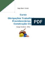 Curso Obriga Es Trabalhistas e Previdenci Rias Na Constru o Civil