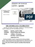 Jodo Mission of Hawaii Bulletin - April 2010