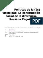 Políticas de La (in) Visibilidad. La Construcción Social de La Diferencia