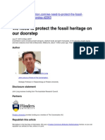 We Need to Protect the Fossil Heritage on Our Doorstep; The Conversation by Prof John Long 2015