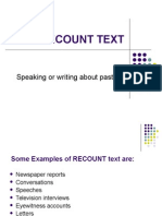 RECOUNT TEXT, My Unforgetable Experience