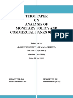 ANALYSIS of Monetary Policy & Commercial Banks of India