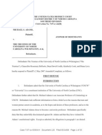 Adams v UNC-Wilmington - Answer to Amended Complaint Without Exhibits