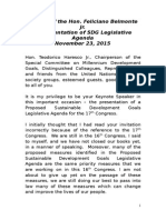 Keynote Speech for the SDG Legislative Agenda_112015