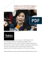 EU Extends Invitation to Ex-Thai PM Yingluck – but Will the Junta Let Her Travel (UPDATED)