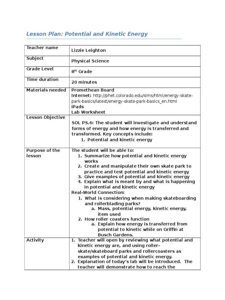 Leighton Tled617 M4lessonplan Kinetic Energy Lesson Plan