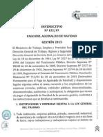 INSTRUCTIVO 122/15 DE PAGO DE AGUINALDO GESTION 2.015