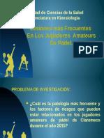 Lesiones Mas Frecuentes de Jugadores Amateurs de Padel