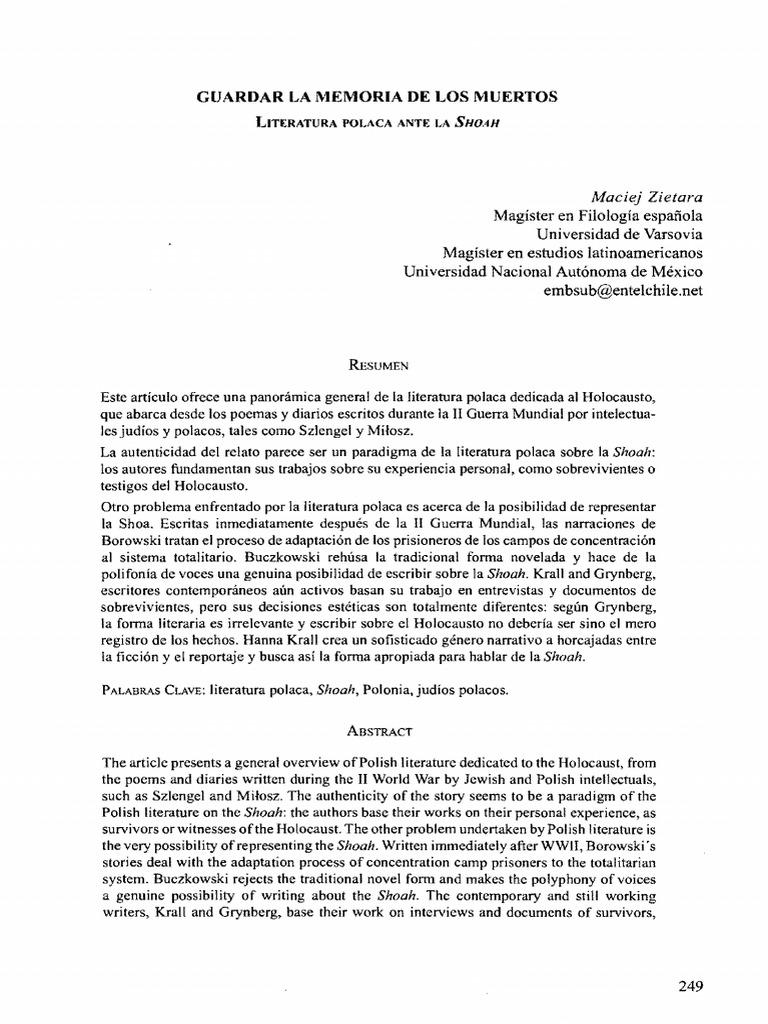 Guardar La Memoria De Los Muertos Polonia El Holocausto
