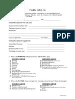 checklist for fair use