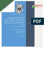 ESTEQUIOMETRÍA EN REACCIONES. CONCEPTO DE REACTIVO LIMITANTE - Química