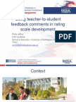 Using teacher-to-student feedback comments in rating scale development