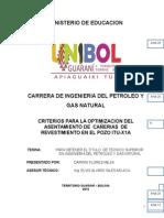 CRITERIOS PARA LA OPTIMIZACION DEL  ASENTAMIENTO DE  CAÑERIAS  DE  REVESTIMIENTO EN EL POZO ITU-X1A