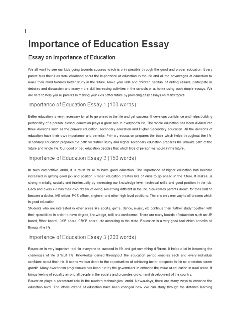 English Essay Importance Of Education. Importance Of Education Distance  Education Mind . English Essay Importance Of Education