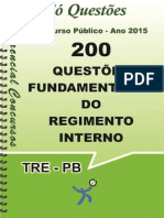 TRE-PB - 200 Questões Fundamentadas Do Regimento Interno