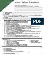 Worksheet-Business Organizations HL
