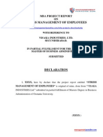 Stress Management of Employees MBA Project Report