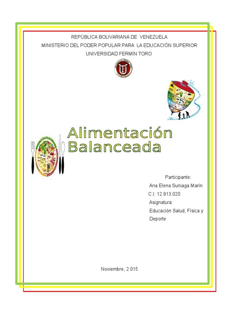 Alimentación Balanceada Resumen - Alimentos - Nutrición