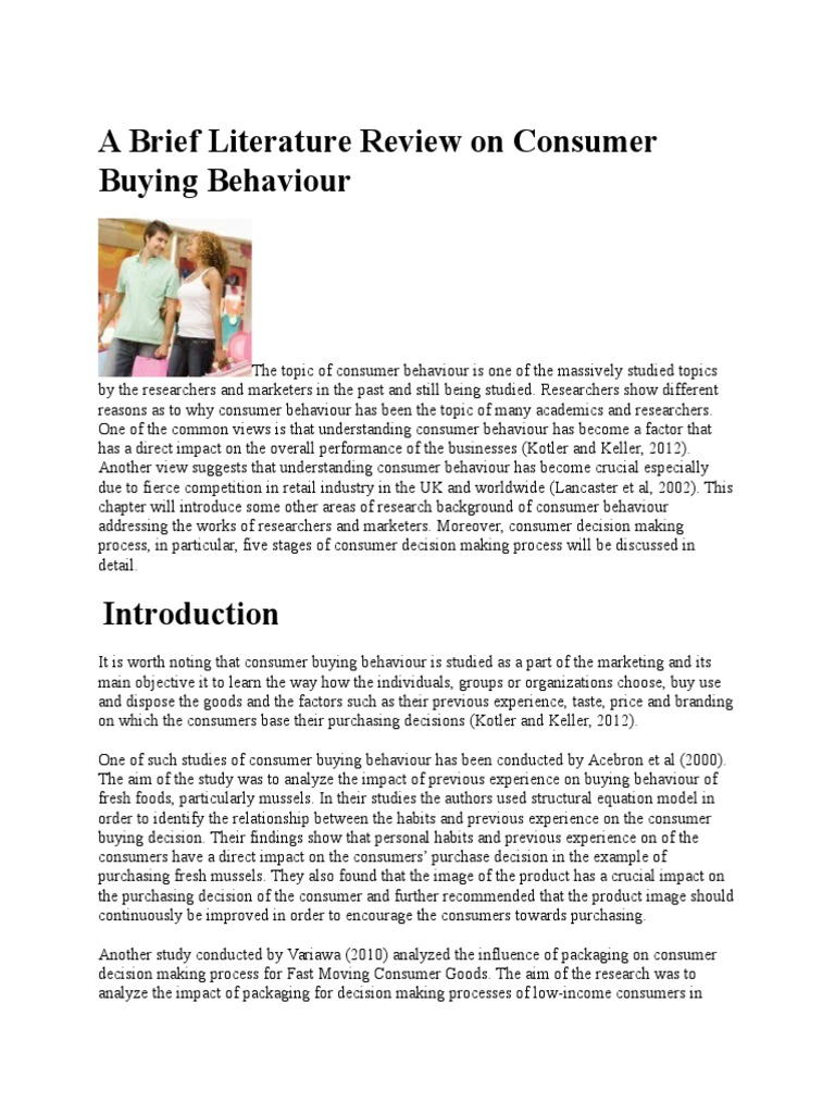 Literature review on consumer buying behavior analysis