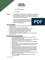 Asst Branch Manager Job Description 0609