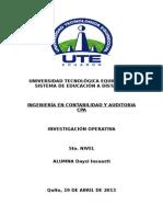 Tarea Unidad 2.1 Investigacion Operativa Daysi Insuasti