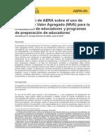 Declaración AERA Uso Modelos de Valor Agregado (MVA) en Evaluación Educadores y Programas