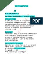 Physics Notes Chapter – 12 Electrostatics