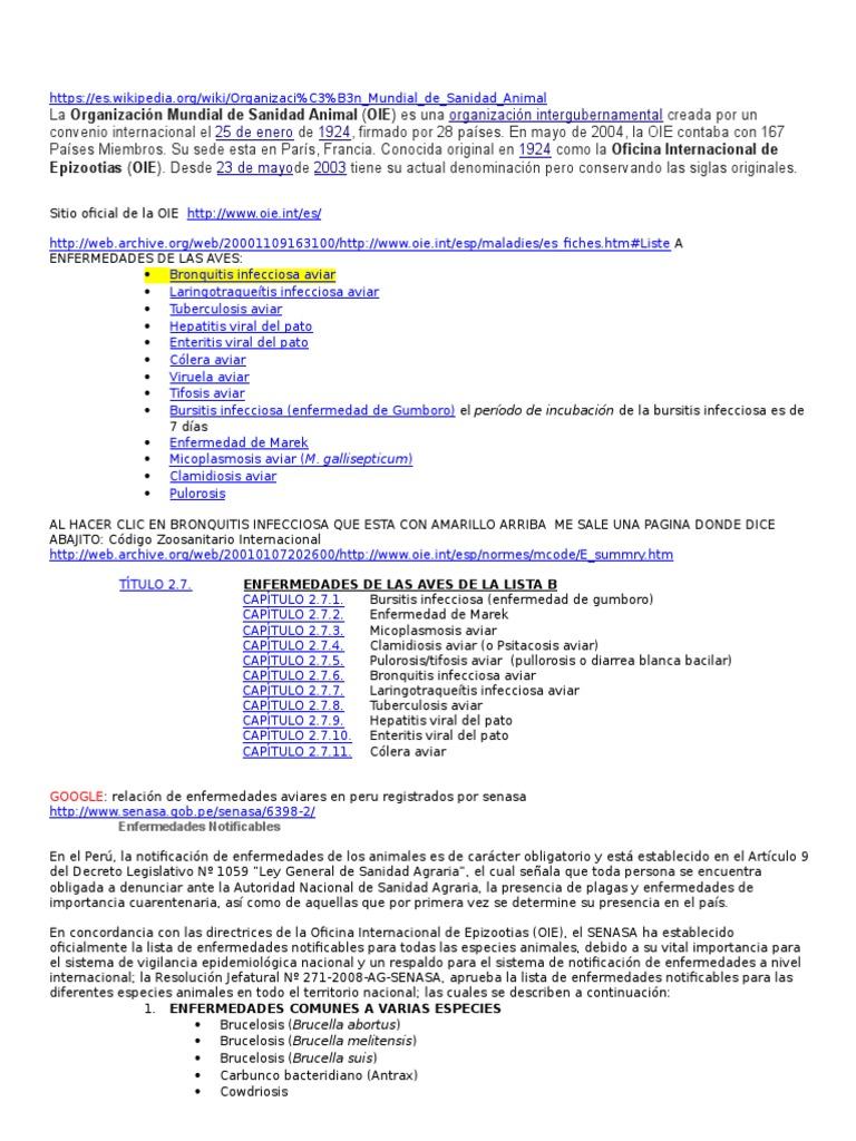 Enfermedades Aviares en Peru Registrados Por Senasa y La OIE