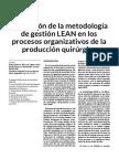 Utilizacion de La Metodologia de Gestion LEAN en Los Procesos Organizativos de La Produccion Quirurgica
