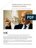 Egypt Needs Stability Based on Democracy, Says Former Presidential Candidate