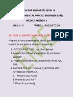 Englis 3 Class Instructions