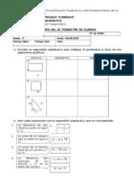 Examen II Trimestre Algebra 1 Comenius 2015