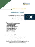 Gestión y Funciones del Departamento de Recursos Humanos.
