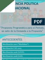 Propuesta Programática para el periodo, un salto de la demanda a la propuesta