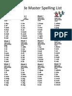 First Grade Master Spelling Lists