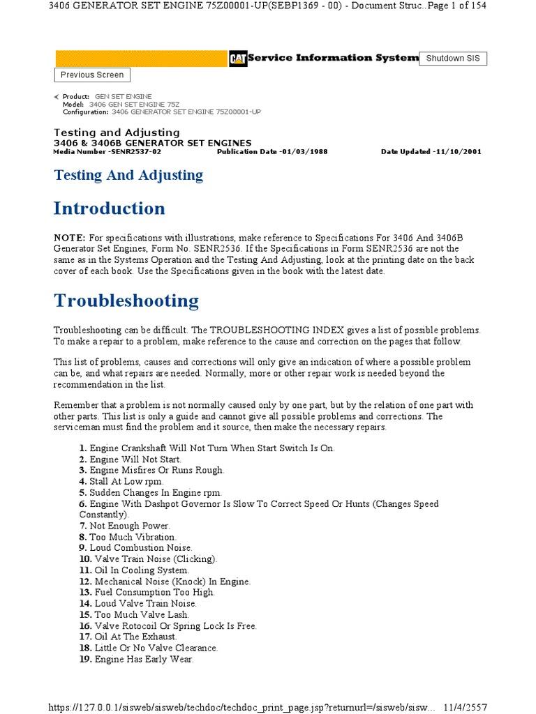 3406 Adjust Trobleshooting | Cylinder (Engine) | Diesel Engine