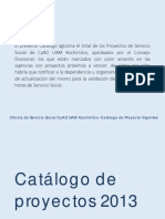 Catálogo Proyectos de Servicio Social Jul 2015