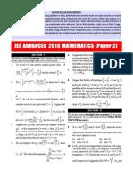JEE - Advance Mathematics 2015 Paper 2