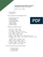 Taller - Nomenclatura, Estequimetria, Gases y Soluciones
