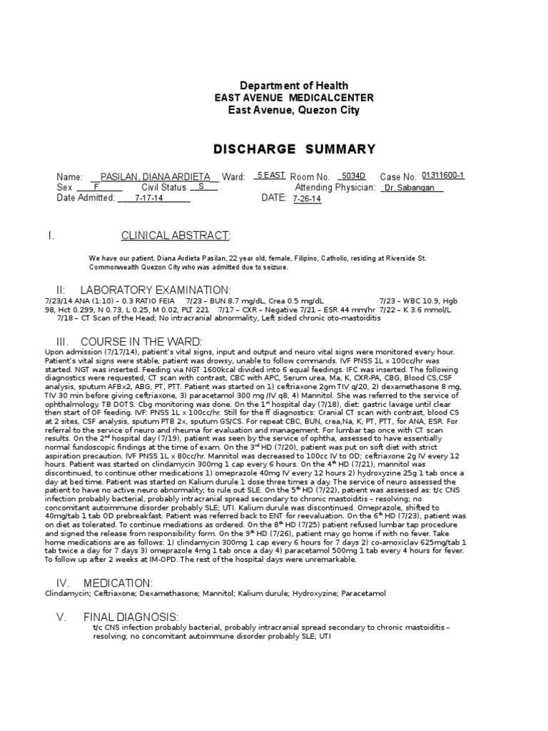 Discharge Summary Copy | Wellness | Health Sciences