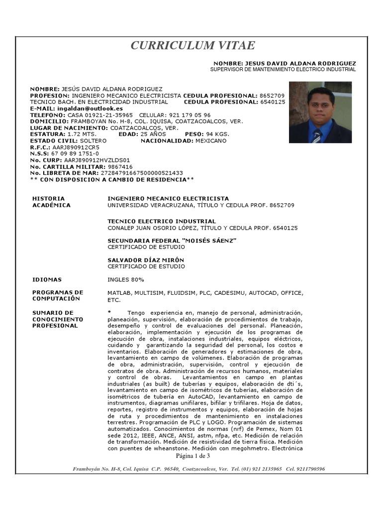 Curriculum Jesus David Aldana Rodriguez